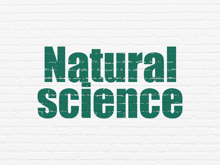 natural science: Science concept: Painted green text Natural Science on White Brick wall background, 3d render Stock Photo