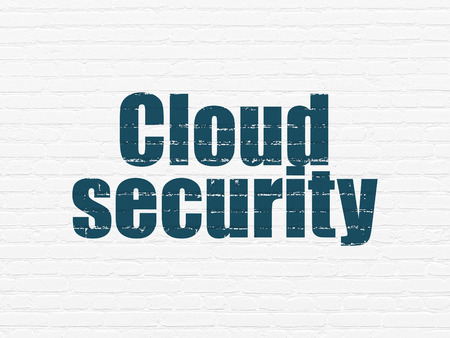 security technology: Cloud technology concept: Painted blue text Cloud Security on White Brick wall background, 3d render