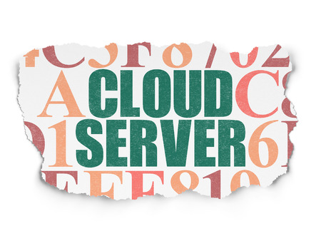 green computing: Cloud computing concept: Painted green text Cloud Server on Torn Paper background with  Hexadecimal Code, 3d render Stock Photo