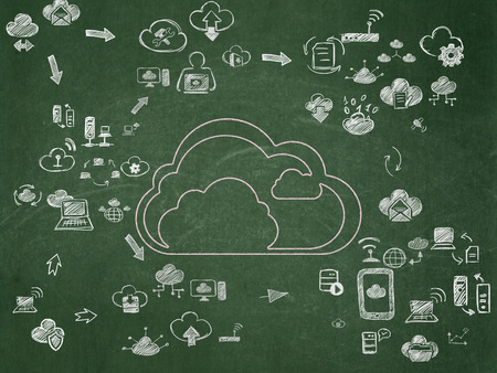 black board: Cloud networking concept: Chalk Pink Cloud icon on School Board background with Scheme Of Hand Drawn Cloud Technology Icons, 3d render