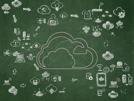 dessin noir et blanc: Couverture réseau notion: Chalk Pink Cloud icône sur la Commission scolaire de fond avec le plan de la technologie Hand Drawn Icons nuage, 3d render