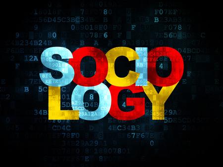 sociologia: Concepto de aprendizaje: Pixelated Sociolog�a texto multicolor en el fondo digital, 3d Foto de archivo