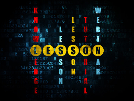 word lesson: Studying concept: Pixelated yellow word Lesson in solving Crossword Puzzle on Digital background, 3d render