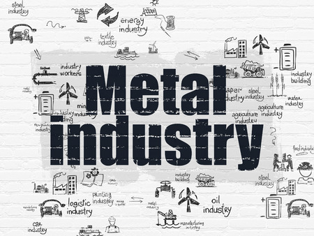 drawn metal: Manufacuring concept: Painted black text Metal Industry on White Brick wall background with Scheme Of Hand Drawn Industry Icons, 3d render Stock Photo