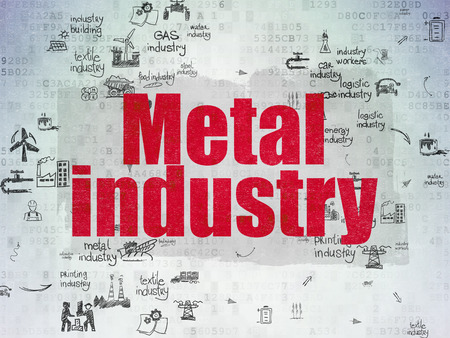 drawn metal: Industry concept: Painted red text Metal Industry on Digital Paper background with Scheme Of Hand Drawn Industry Icons, 3d render