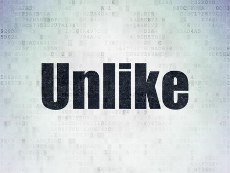 unlike: Social media concept: Painted black word Unlike on Digital Paper background, 3d render