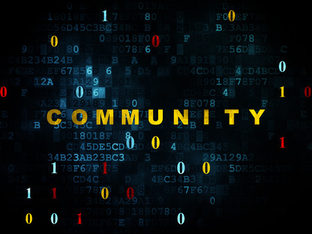 microblog: Social media concept: Pixelated yellow text Community on Digital wall background with Binary Code, 3d render