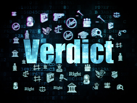 criminal act: Law concept: Pixelated blue text Verdict on Digital background with  Hand Drawn Law Icons, 3d render Stock Photo