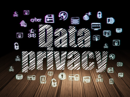 to privacy: Privacy concept: Glowing text Data Privacy,  Hand Drawn Security Icons in grunge dark room with Wooden Floor, black background, 3d render