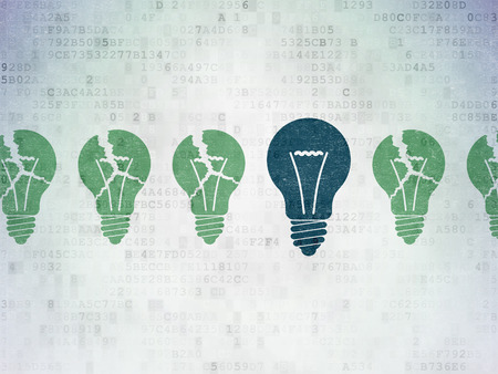broken strategy: Business concept: row of Painted green light bulb icons around blue light bulb icon on Digital Paper background, 3d render Stock Photo