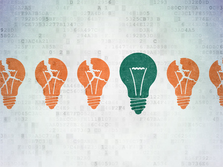 green light bulb: Finance concept: row of Painted orange light bulb icons around green light bulb icon on Digital Paper background, 3d render