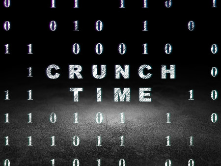 crunch: Business concept: Glowing text Crunch Time in grunge dark room with Dirty Floor, black background with Binary Code, 3d render Stock Photo
