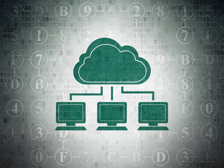 green computing: Cloud computing concept: Painted green Cloud Network icon on Digital Paper background with Scheme Of Hexadecimal Code, 3d render
