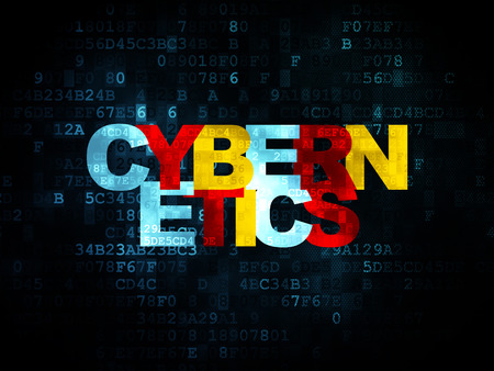 cybernetics: Science concept: Pixelated multicolor text Cybernetics on Digital background, 3d render