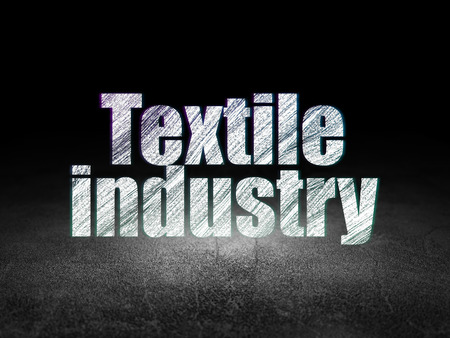dirty room: Industry concept: Glowing text Textile Industry in grunge dark room with Dirty Floor, black background, 3d render Stock Photo
