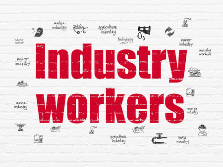 industry background: Industry concept: Painted red text Industry Workers on White Brick wall background with  Hand Drawn Industry Icons, 3d render