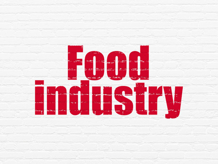 food industry: Industry concept: Painted red text Food Industry on White Brick wall background, 3d render