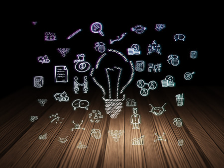 broken strategy: Business concept: Glowing Light Bulb icon in grunge dark room with Wooden Floor, black background with  Hand Drawn Business Icons, 3d render