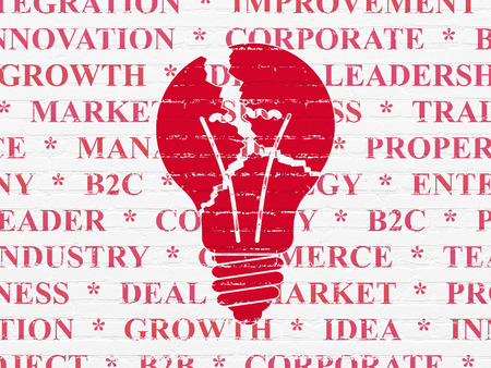 broken strategy: Business concept: Painted red Light Bulb icon on White Brick wall background with  Tag Cloud, 3d render