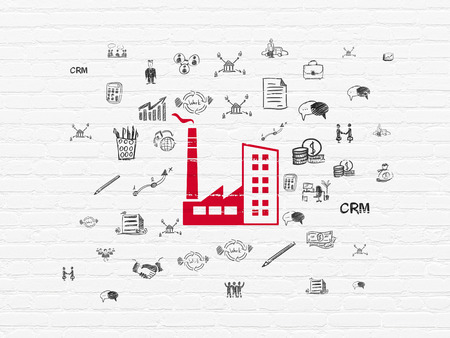 money concept: Business concept: Painted red Industry Building icon on White Brick wall background with  Hand Drawn Business Icons, 3d render