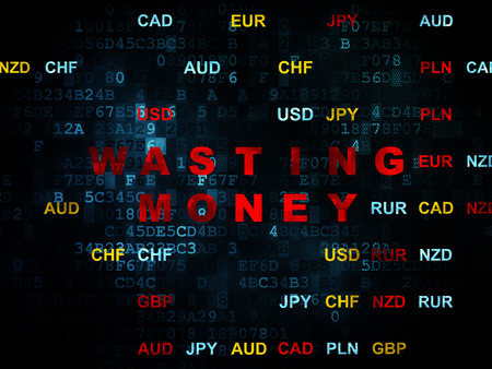 wasting: Currency concept: Pixelated red text Wasting Money on Digital wall background with Currency, 3d render