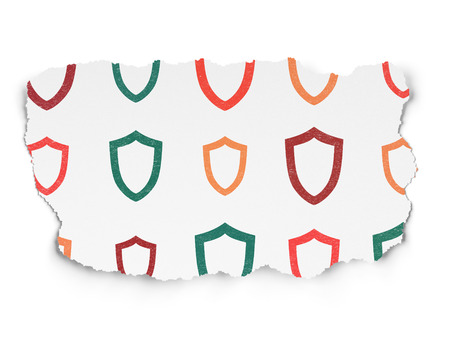 contoured: Protection concept: Painted multicolor Contoured Shield icons on Torn Paper background, 3d render
