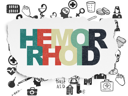hemorrhoid: Healthcare concept: Painted multicolor text Hemorrhoid on Torn Paper background with  Hand Drawn Medicine Icons, 3d render Stock Photo
