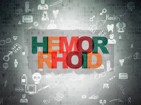 hemorrhoid: Healthcare concept: Painted multicolor text Hemorrhoid on Digital Paper background with Scheme Of Hand Drawn Medicine Icons, 3d render