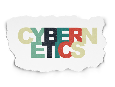 cybernetics: Science concept: Painted multicolor text Cybernetics on Torn Paper background, 3d render