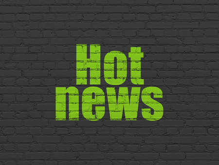 hot news: News concept: Painted green text Hot News on Black Brick wall background, 3d render