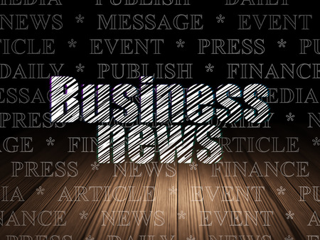 news room: News concept: Glowing text Business News in grunge dark room with Wooden Floor, black background with  Tag Cloud, 3d render