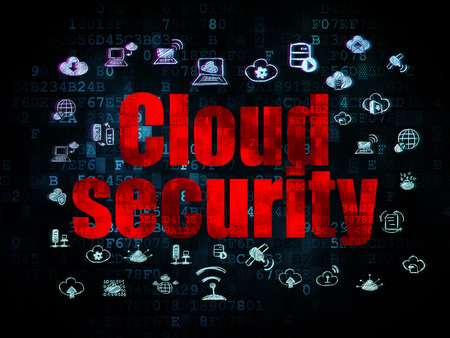 security technology: Cloud technology concept: Pixelated red text Cloud Security on Digital background with  Hand Drawn Cloud Technology Icons, 3d render Stock Photo