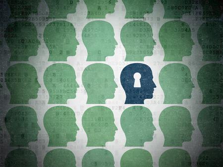 教育理念: 塗られた緑の行は、デジタル ペーパーの背景、3 d のレンダリングに鍵穴アイコンで青い頭の周りのアイコンを頭