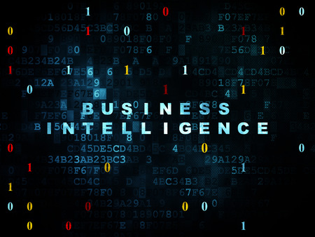 Finance concept: Pixelated blauwe tekst Business Intelligence op digitale muur achtergrond met binaire code, 3d renderen