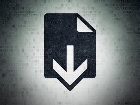 ftp servers: Web design concept: Painted black Download icon on Digital Paper background, 3d render