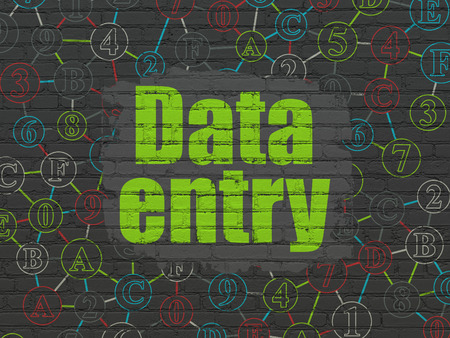 data entry: Data concept: Painted green text Data Entry on Black Brick wall background with Scheme Of Hexadecimal Code, 3d render