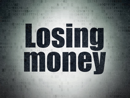 losing money: Money concept: Painted black word Losing Money on Digital Paper background Stock Photo