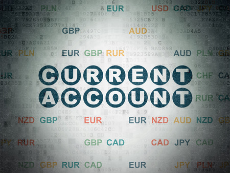 current account: Money concept: Painted blue text Current Account on Digital Paper background with Currency Stock Photo