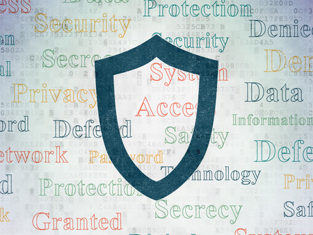 contoured: Privacy concept: Painted blue Contoured Shield icon on Digital Paper background with  Tag Cloud