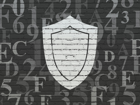 hexadecimal: Safety concept: Painted white Shield icon on Black Brick wall background with  Hexadecimal Code Stock Photo