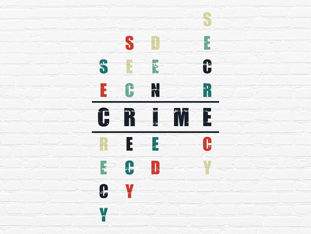 crime solving: Safety concept: Painted black word Crime in solving Crossword Puzzle Stock Photo