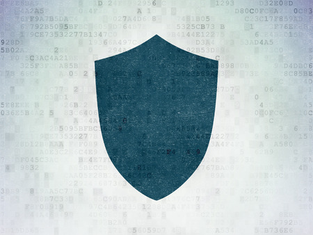 passkey: Privacy concept: Painted blue Shield icon on Digital Paper background Stock Photo