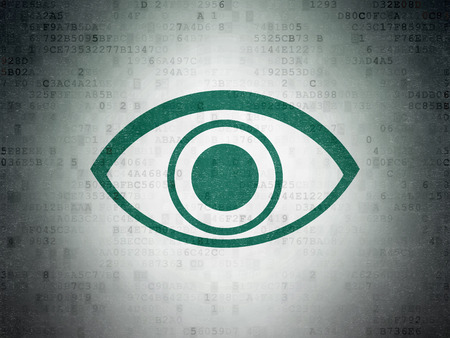 green eye: Safety concept: Painted green Eye icon on Digital Paper background