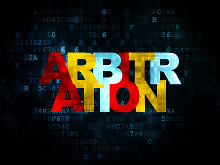 arbitration: Law concept: Pixelated multicolor text Arbitration on Digital background, 3d render