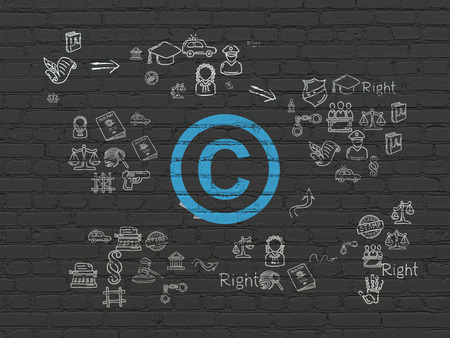 court process: Law concept: Painted blue Copyright icon on Black Brick wall background with Scheme Of Hand Drawn Law Icons Stock Photo