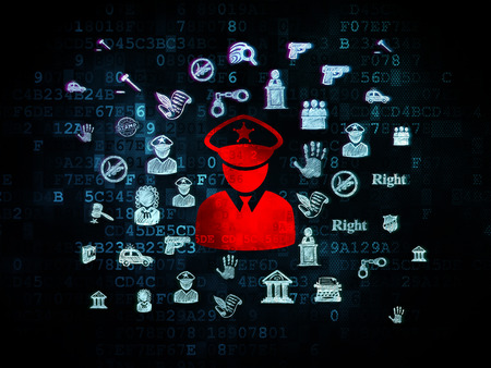 criminal act: Law concept: Pixelated red Police icon on Digital background with  Hand Drawn Law Icons, 3d render