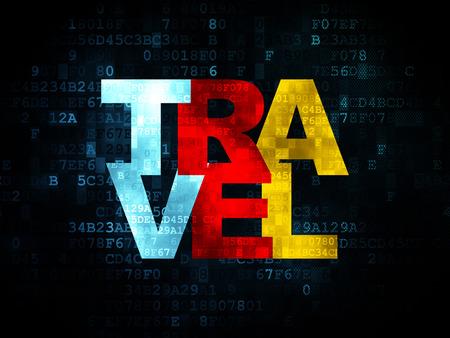 agencia de viajes: Concepto de las vacaciones: Pixelated multicolor texto Viajes en el fondo digital, 3d