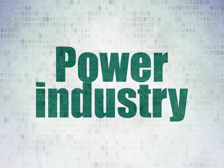 power industry: Industry concept: Painted green word Power Industry on Digital Paper background