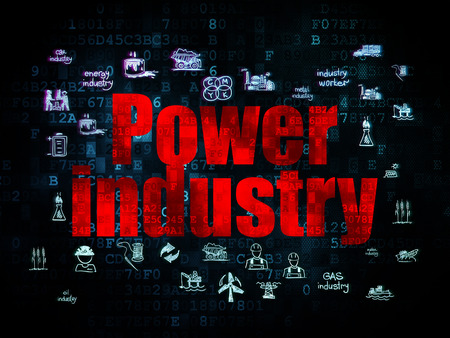 power industry: Industry concept: Pixelated red text Power Industry on Digital background with  Hand Drawn Industry Icons, 3d render Stock Photo