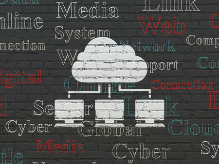 cloud tag: Cloud technology concept: Painted white Cloud Network icon on Black Brick wall background with  Tag Cloud